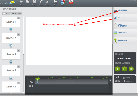 Screenshot of Rawshorts user interface for creating video