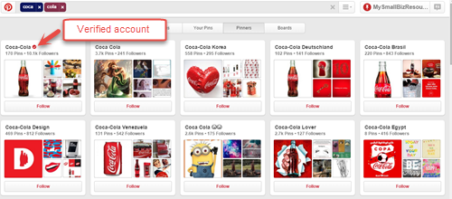 Verified account on Pinterest
