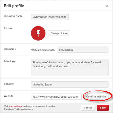 Verifying your Pinterest Account